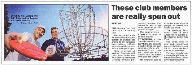 Geelong Disc Golf in the Geelong Advertiser
